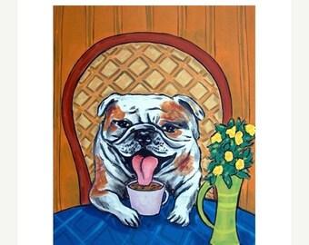 25% off bulldog art - PRINT- bulldog, dog, art, PRINT, poster gift coffee, coffee art,