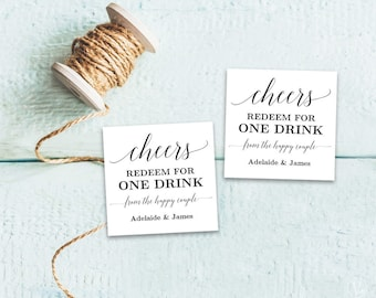 Printable Wedding Drink Tickets, Drink Tickets, Drink Token, Wedding Drinks Token Template, DIY Drink Tickets