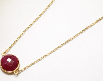 Precious Ruby Necklace Adjustable Necklace Genuine Ruby Necklace Real Ruby 14k Gold Vermeil July Birthstone Ruby Jewelry BZ-N-152.2-Ruby/g