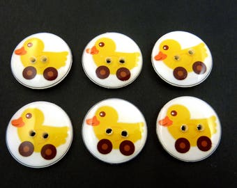 """6 Duck Toy or Car Buttons. Handmade Decorative Novelty Buttons.  Knitting, sewing or crafting buttons. 3/4"""" or 20 mm."""
