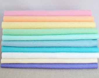 Wool Felt Sheets - 10 pieces - 'Macaron' collection - 100% wool felt