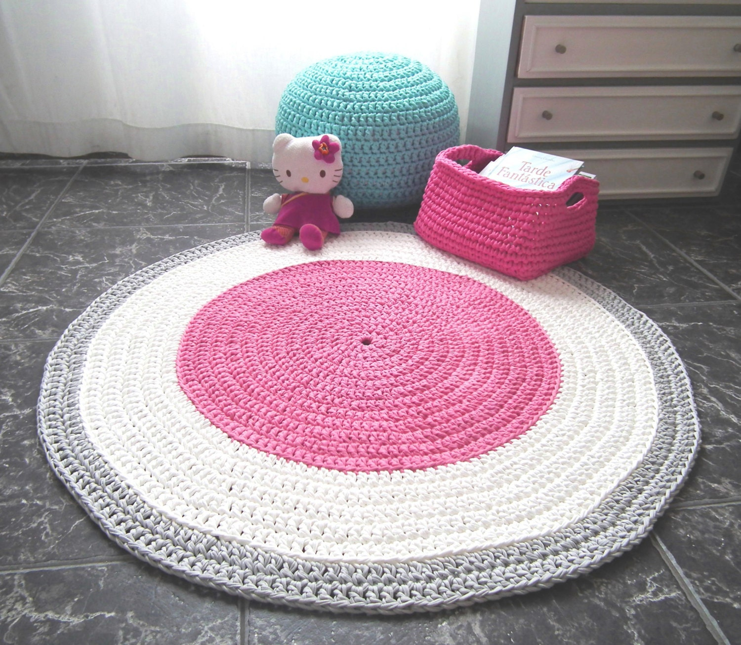 Crochet Pink Nursery Rug Girls Room Round Rug Baby Cotton
