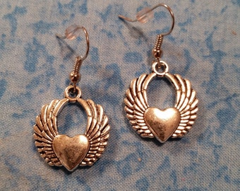 Heart with Wing Earrings - Tibetan Silver