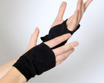 Black fingerless gauntlets, Metallic black fingerless gloves, Womens black fingerless gauntlets, Gift for women, Womens accessories, MALAM