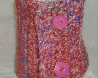 Pink Wool Mini Scarf, Scarflette, Neckwarmer, Neckscarf, Crochet, Circle, Wrap, Cowl, Womens, Collar, Spring, Unusual, Unique, Birthday Gift