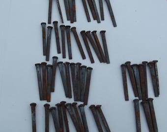 Antique vintage industrial 50 x rose head iron hand cut nails , old shop stock , building renovation ,art Sculpture