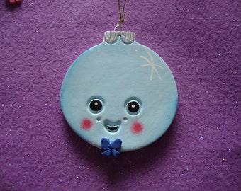 Kawaii Personalized Christmas Ball ornament/decoration  clay handmade hand painted Cookiecuttercuties