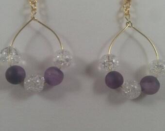 Purple stone hoop earrings