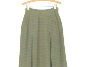 vintage 60s skirt * checkered skirt * box pleated skirt * 1960s skirt * xs