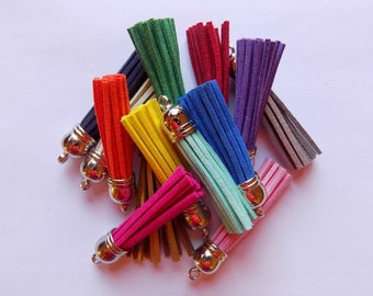 6 Tassels - Faux Suede Tassels With Silver Caps - Mixed Colors