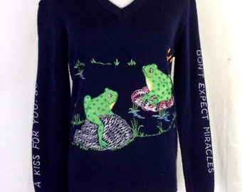 vtg 60s 70s Syn Les Shirlee Designs Embroidred Frogs Sweater V-Neck sz M