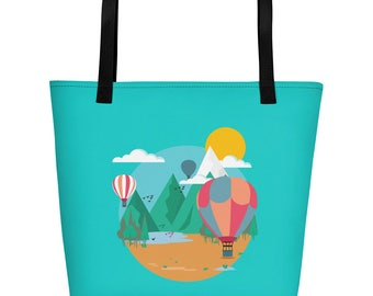 Hot Air Balloon Illustration Beach Bag