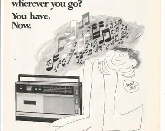 1968 Advertisement Ampex Micro 30 Portable AM FM Stereo Cassette Player 60s Audio Tape Music Recording Studio Wall Art Decor