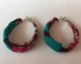 African print fabric hoop earrings