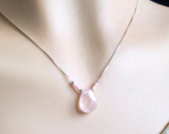 Rose quartz pendant necklace and silver chain pendant necklace natural stone quartz beads pink white silver chain