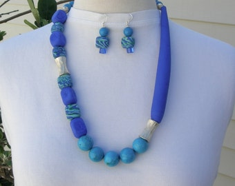 STRIKING Blue Murano Glass Beads, Mottled Lampwork Glass Beads, Thai Silver & Turquoise Beads, Asymmetrical Necklace Set by SandraDesigns