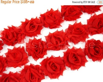 """ON SALE 20% OFF 1.5"""" Petite  Shabby Rose Trim-  Red Color - Shabby Flowers - Chiffon Trim - Hair Accessories and Craft Supplies"""