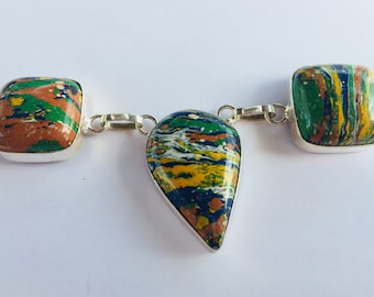 Rainbow Calsilica Necklace set in Heavy Silver Plate