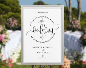 Wedding Welcome Sign Template, Welcome to Our Wedding, DIY Welcome Sign, printable welcome sign, Wedding Welcome Poster, WPC_549SD2A