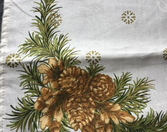 """Vintage Damask Napkin Printed with Gilded Pine Cones // 18x19"""" white with gold, green, brown"""