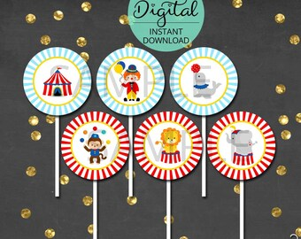 Circus Cupcake Toppers,  Circus Birthday, Carnival Cupcake Topper, Carnival Birthday, Cupcake Decor, Party Circles, INSTANT DOWNLOAD #5423