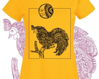 Rooster tshirt. Country farm chicken shirt yellow black. Intricate line art drawing on t shirt. Graphic tee for women or girls. Man in moon