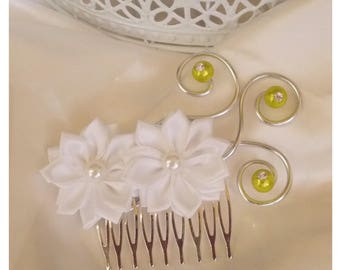 Hair comb decorated with white satin flowers, and lime color beads
