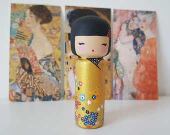 Kokeshi Peg doll wooden doll Handpainted inspired in Gustav Klimt