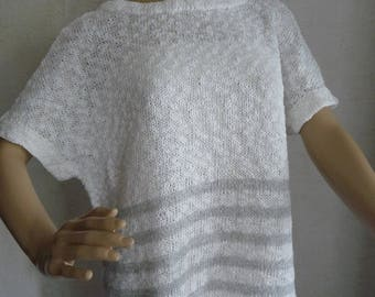Cotton tunic, spring, T.38/40 - handmade knit, cotton white striped Pearl gray.-