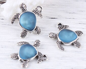 Blue Sea Glass Turtle Charm - Clip-On - Ready to Wear