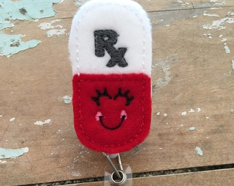 Happy Pill ID badge reel holder retractable clip