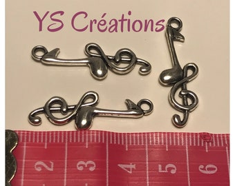 5 pendant music note and treble clef silver
