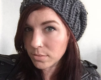 Chunky Knit Slouch Hat Graphite Gray Fleck