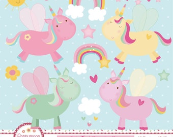 Cute unicorns, pastel colours, printable digital clipart set