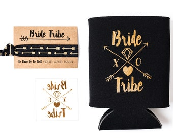 Black + Gold Bride Tribe Bachelorette Gift Set | Metallic Gold Tattoo, Hair Tie + Drink Cooler | Bachelorette Party Favor