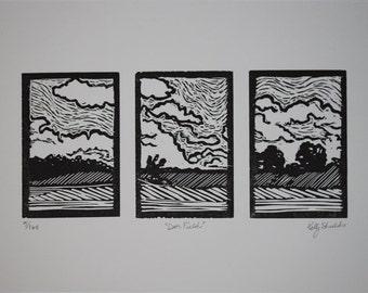 Deer Field Linoleum Relief Print