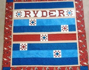 One-of-a-kind Cowboy Quilt for a boy named Ryder, 54 x 57, with stars & roping cowboys, brand new, unused
