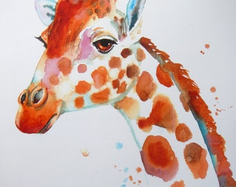 "Fine art print of giraffe watercolor painting, ""Hangin' Out"", by Patrick Soper"