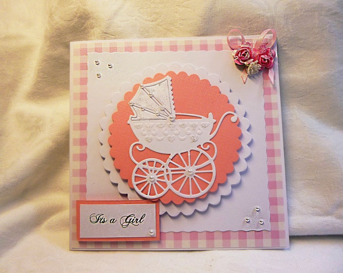 New Born Baby Girl Card, Just Arrived, New Arrival Card, Baby Shower Card, Card For Baby Girl, Pink and White Baby Card, Baby Girl Card