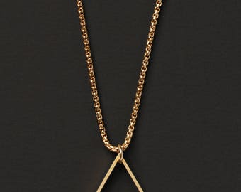 Gold chain and triangle necklace for men - Gold triangle men's necklace - simple and minimalist jewelry for men - for him.