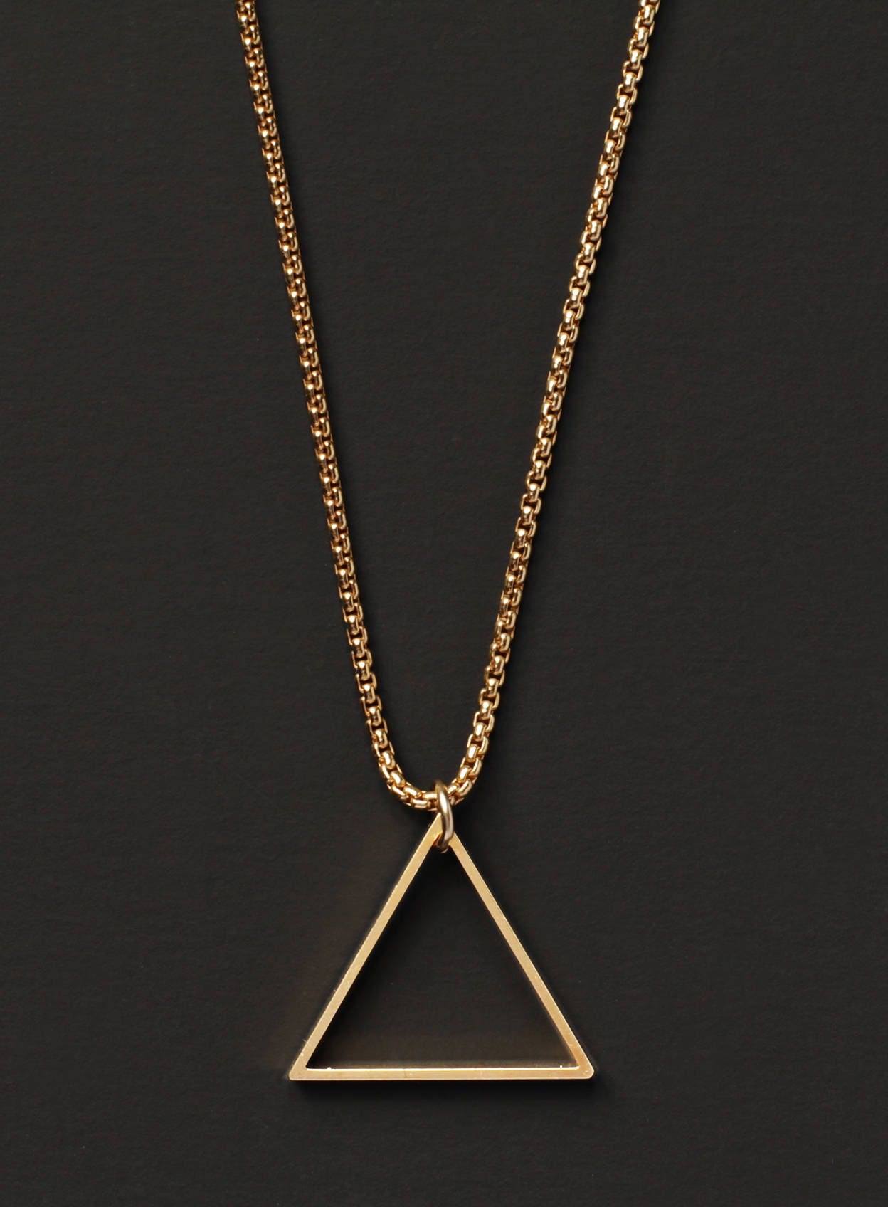 Gold chain and triangle necklace for men Gold triangle