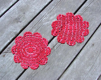 Red Crochet Doily Set (2) Tie Dye Doilies 7 Inches