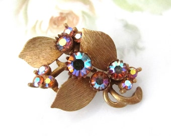 Vintage Gold Tone and AB Rhinestone Leaves Brooch Pin