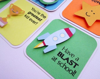 Lunchbox notes, lunch box notes, backpack notes, love notes set of 5 Everyday Shapes