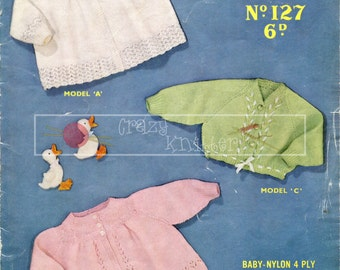 Baby Matinee Coats 3-6 months 4ply Sirdar 127 Vintage Knitting Pattern PDF instant download