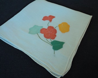 French vintage cotton ladies handkerchief in a bag (03485)