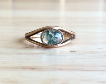 Vintage 9ct Yellow Gold Moss Agate Stone Eye Ring - Size 7 Sizeable Alternative Engagement - Wedding Antique Bohemian Fine Jewelry