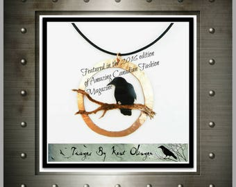 raven necklace, crow pendant, raven jewelry, goth raven, crow jewelry, raven art, copper statement, corvid, canadian art, goth crow, rook