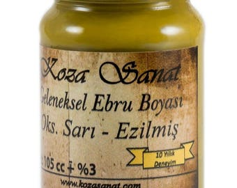Ebru Marbling Paint Colors-Oxide Yellow 105cc (Koza)