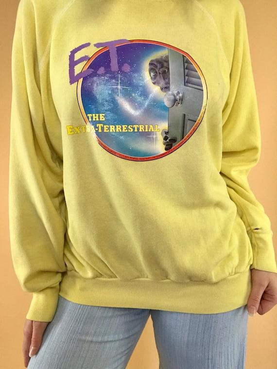 Vintage 1982 E.T. Extra-Terrestrial Universal Studios Iron On Graphic Royal Blue + Heather Grey Raglan Crewneck Sweatshirt XS WKBJwpeHO
